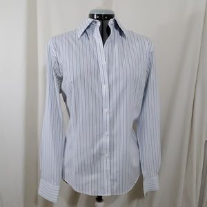 BROOKS BROTHERS Fitted Blue Striped Shirt Size 16